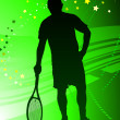 Stock Vector: Tennis Player on Abstract Green Background