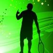 Tennis Player on Abstract Green Background — Stock Vector #6510725