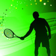 Tennis Player on Abstract Green Background — Stock Vector