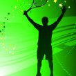 Tennis Player on Abstract Green Background — Stock Vector #6510730