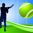 Tennis Player on Abstract Film Reel Background — Vettoriali Stock