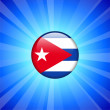 Cuba Flag Icon on Internet Button — Stock Vector