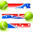 Tennis Bal with Patriotic Banners — Stock Vector