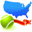 Stock Vector: Tennis Ball with United States Map