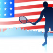 Tennis Players with United States Flag Background — Stock Vector