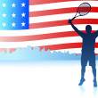 Tennis Players with United States Flag Background — Stock Vector #6510954