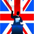 British flag with political speaker behind a podium — Stock Vector
