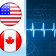 United States and canada Flag Internet Buttons on pulse Backgrou — Stok Vektör
