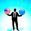 Businessman Holding United States and european union Internet Fl — Stock Vector #6511006