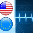 Royalty-Free Stock Vector Image: America and European Union Flag Internet Buttons on pulse Backgr