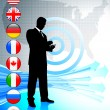 Businessman with USA map and internet flag buttons — Imagen vectorial