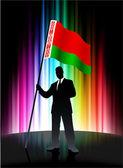 флаг беларуси с бизнесменом на фоне абстрактных спектра — Cтоковый вектор