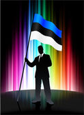 Estonia Flag with Businessman on Abstract Spectrum Background — Stock Vector