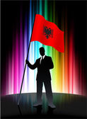Albania Flag with Businessman on Abstract Spectrum Background — Stock Vector