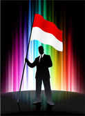 Indonesia Flag with Businessman on Abstract Spectrum Background — 图库矢量图片