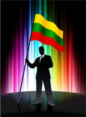 Lithuania Flag with Businessman on Abstract Spectrum Background — Stock Vector