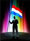 Luxembourg Flag with Businessman on Abstract Spectrum Background — Stock Vector