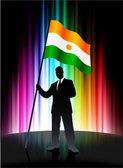 Flaga nigru z biznesmenem na spektrum streszczenie tło — Wektor stockowy
