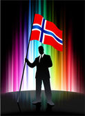 Norway Flag with Businessman on Abstract Spectrum Background — Stock Vector