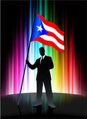 Puerto Rico Flag with Businessman on Abstract Spectrum Backgroun — Stock Vector