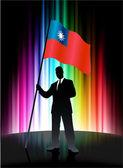 Bandera de taiwán con el empresario sobre fondo abstracto espectro — Vector de stock