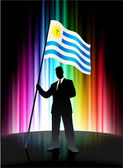 Uruguay Flag with Businessman on Abstract Spectrum Background — Stock Vector