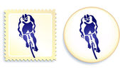 Cyclist Stamp and Button — Stock Vector