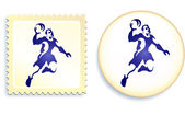 Dodgeball Stamp and Button — Stock Vector