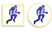 Football Stamp and Button — Stock Vector