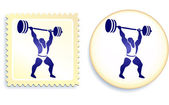 Weightlifter Stamp and Button — Stock Vector