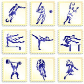 Sports Stamp Collection — Stock Vector