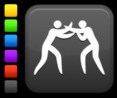 Boxing icon on square internet button — Stock Vector