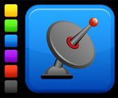 Satellite dish icon on square internet button — Stock Vector