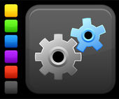 Work gears icon on square internet button — Stockvektor