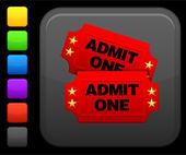Icono de entradas de cine en botón cuadrado de internet — Vector de stock