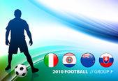 Fútbol mundial fútbol grupo f sobre fondo de color abstracto — Vector de stock