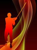 空手道老师用抽象的火焰波背景上的剑 — 图库矢量图片