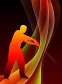 Maestro de karate con la espada sobre fondo abstracto blaze onda — Vector de stock