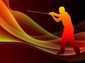 Sensei de karaté avec l'épée, sur fond de vague abstrait brasier — Vecteur