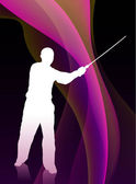 Karate Sensei with Sword on Flowing Purple Wave Background — Stock Vector