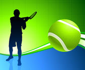 Tennis Player on Abstract Background — 图库矢量图片