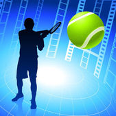 Tennis Player on Film Reel Background — Stock Vector