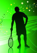 Tennis Player on Abstract Green Background — Vector de stock