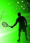 抽象的な緑色の背景でテニス プレーヤー — ストックベクタ