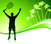Tennis Player on Tropical Abstract Background — Stock Vector
