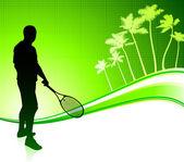 Tennisspeler op tropische abstracte achtergrond — Stockvector