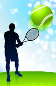Tennis Player on Lens Flare Nature Background — Stock vektor