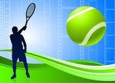 Tenista sobre fondo de carrete de película abstractasoyut film makarası zemin tenis oyuncusu — Stok Vektör