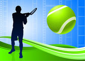Tennis Player on Abstract Film Reel Background — Stock Vector