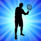Tennis Player on Abstract Blue Background — Stock Vector